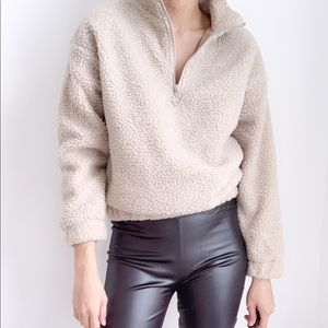 NEW! SHERPA ZIP UP PULLOVER - TAUPE